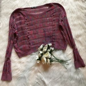 Sweaters - Long Sleeved Crop Light Knit Top